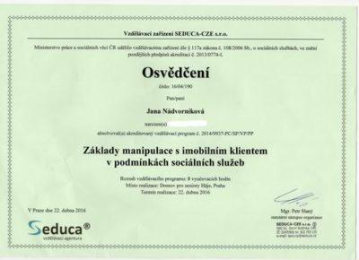 Osobní asistence - certifikat